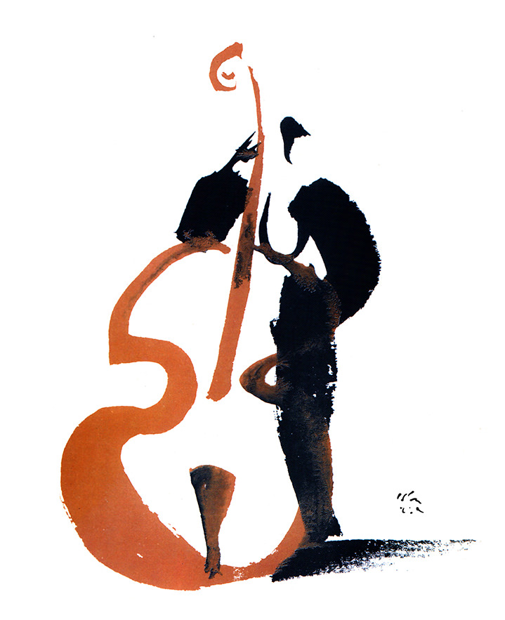 Brian Grimwood, Line brush illustration of a silhouette holding a Cellos