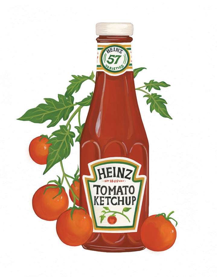 Charlotte Day, Realistic Handpainted Heinz bottle surrounded by fresh tomatoes