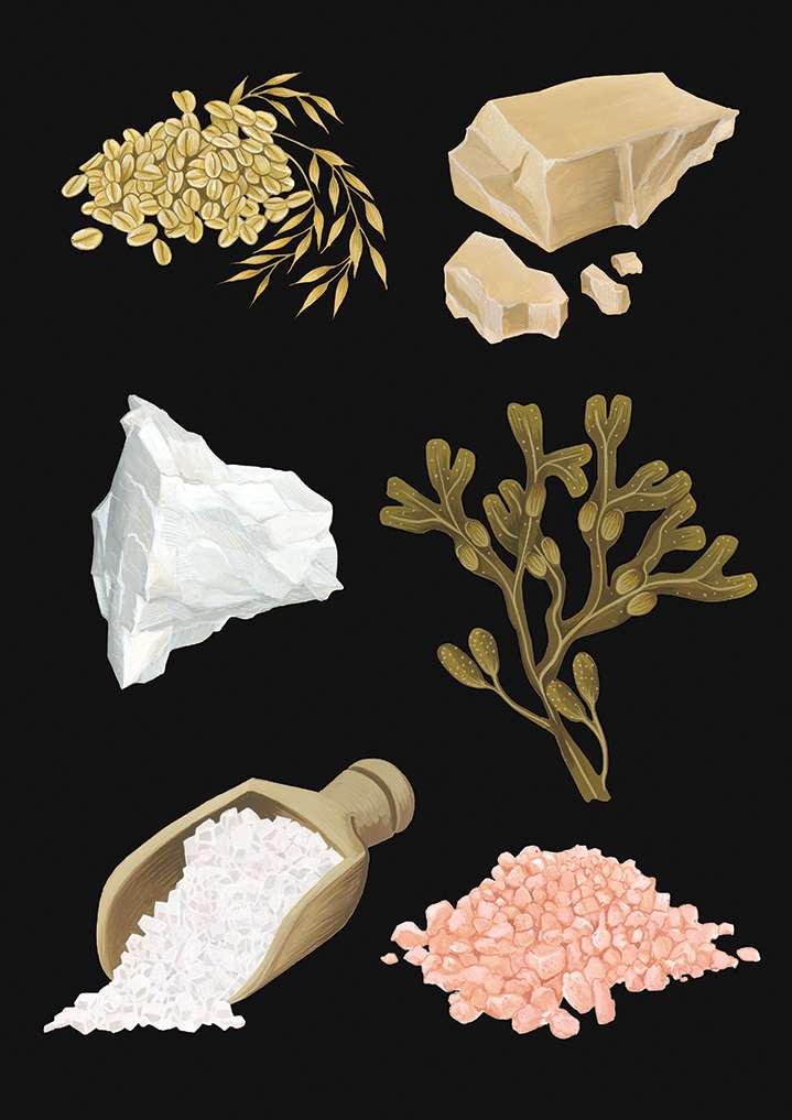 Charlotte Day, Delicately Handpainted illustration of minerals in a black background