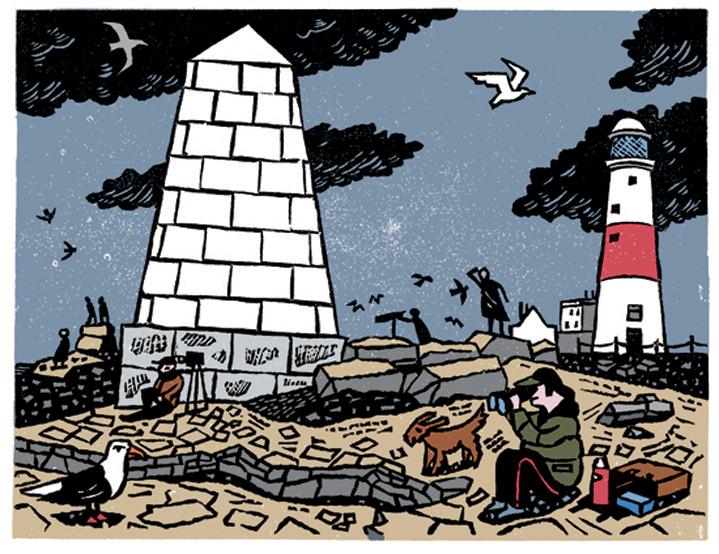 Christopher Brown, Coastal Linocut illustration scenery