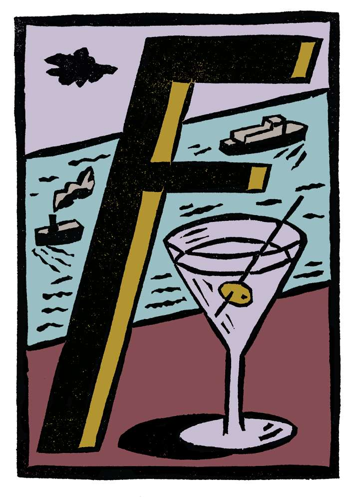 Christopher Brown, Traditional printmaking illustration of a cocktail