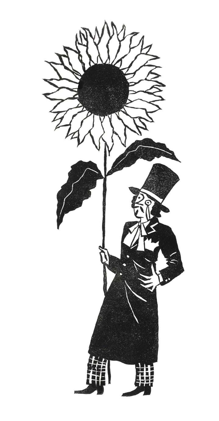 Christopher Brown, Black and white traditional linocut illustration of fancy man holding a gigantic flower