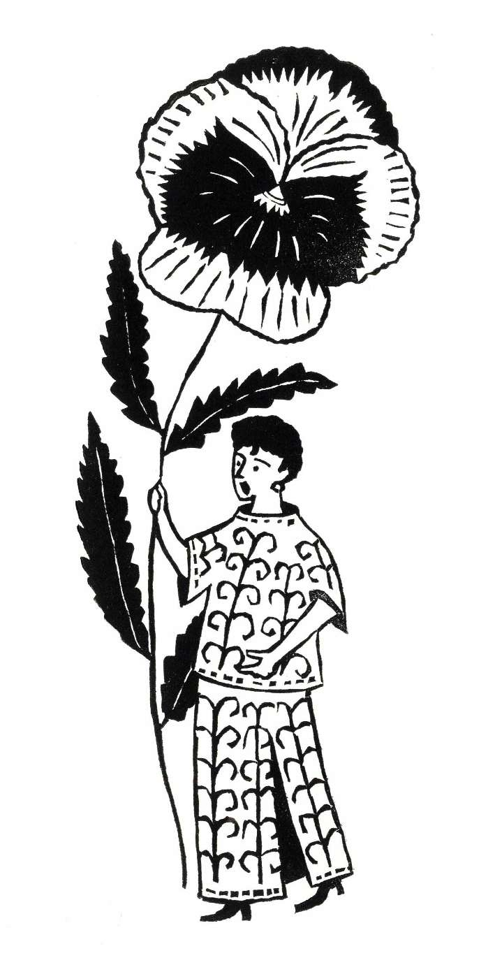 Christopher Brown, Black and white traditional linocut illustration of a fancy women holding a gigantic flower