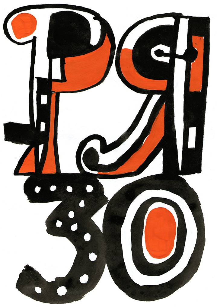 Chris Gilvan Cartwright, Bold and hand painted orange and black logo