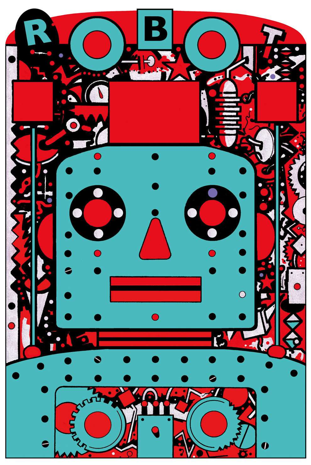 Chris McEwan, Graphic and bold illustration of a red and blue robot