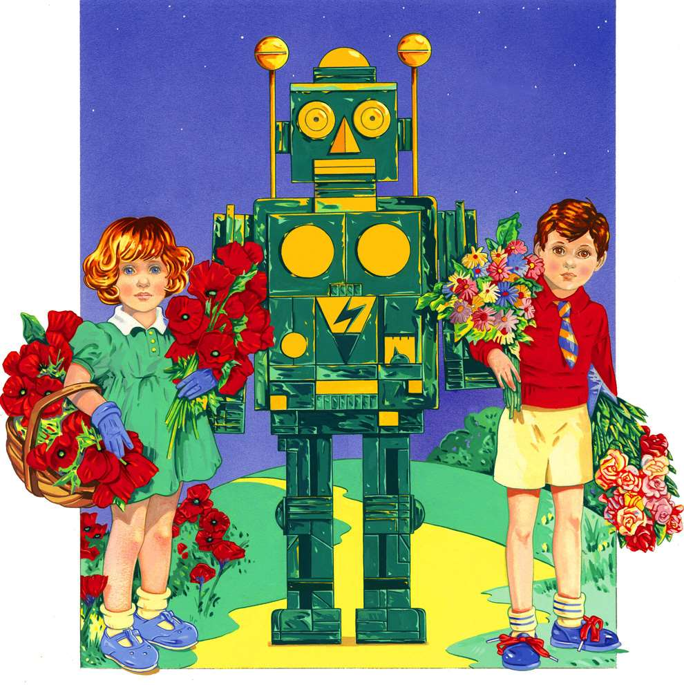 Chris McEwan, Surreal graphic illustration of two kids holding flowers near a robot