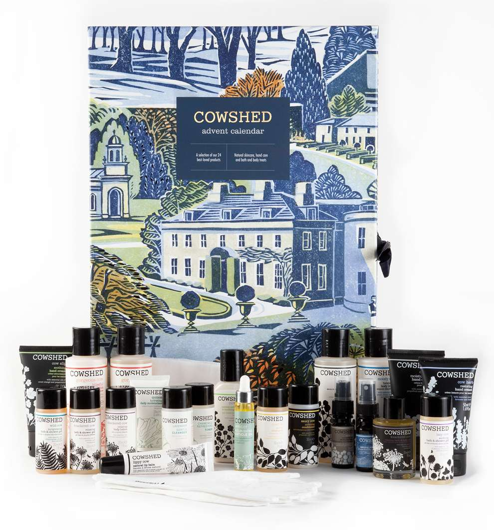 Clare Melinsky, Linocut packaging illustration for a cosmetic brand. Traditional Illustration of a house and a garden