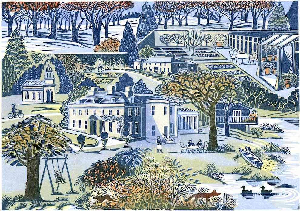 Clare Melinsky, Linocut heritage illustration of a garden scenery