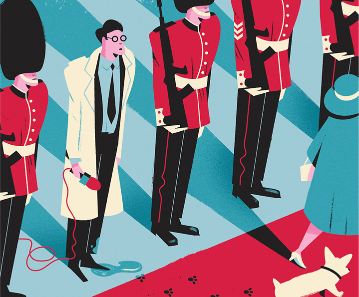 Dale Edwin Murray, A journalist standing with royal guards. Bright and colourful digital illustration
