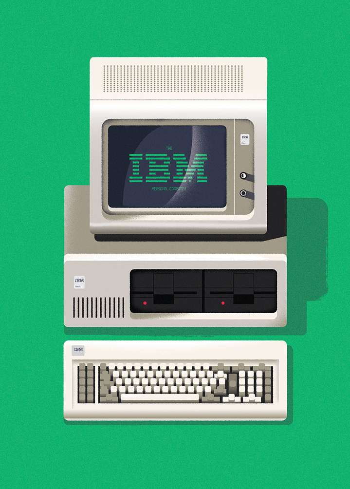 Dale Edwin Murray, Vector illustration of an old-school computer in a green background