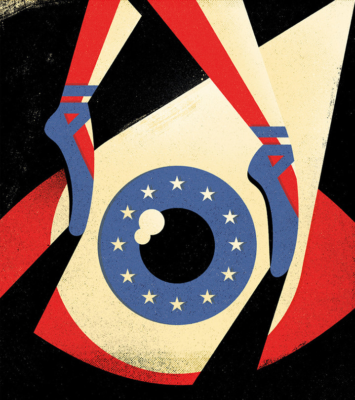 Dale Edwin Murray, Conceptual illustration of a ballerina dancing over an eye representing the American flag