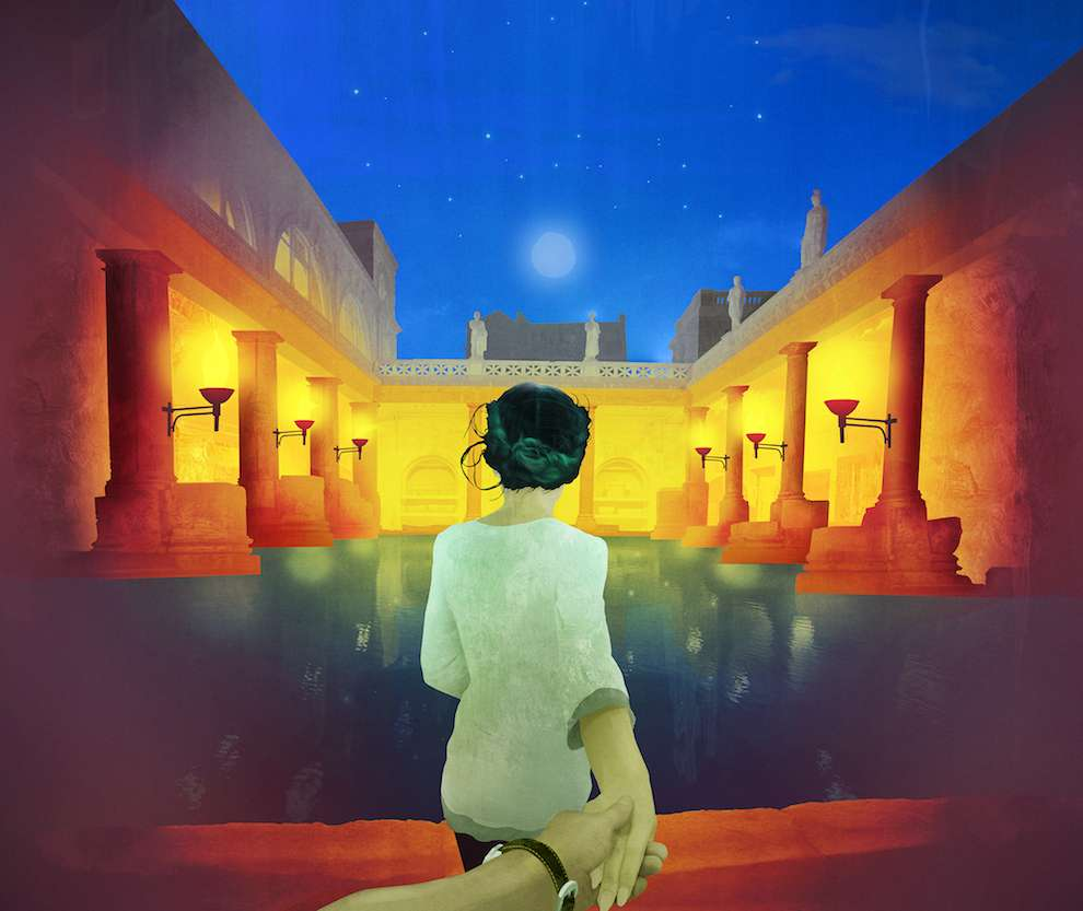 Darren Hopes, Digital illustration of a women walking towards traditional roman bath scene