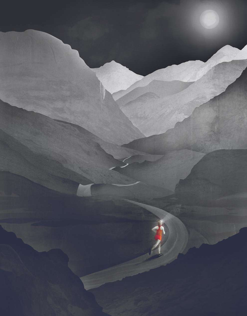 Darren Hopes, Greyscale digital painterly illustration of a women running through the mountains