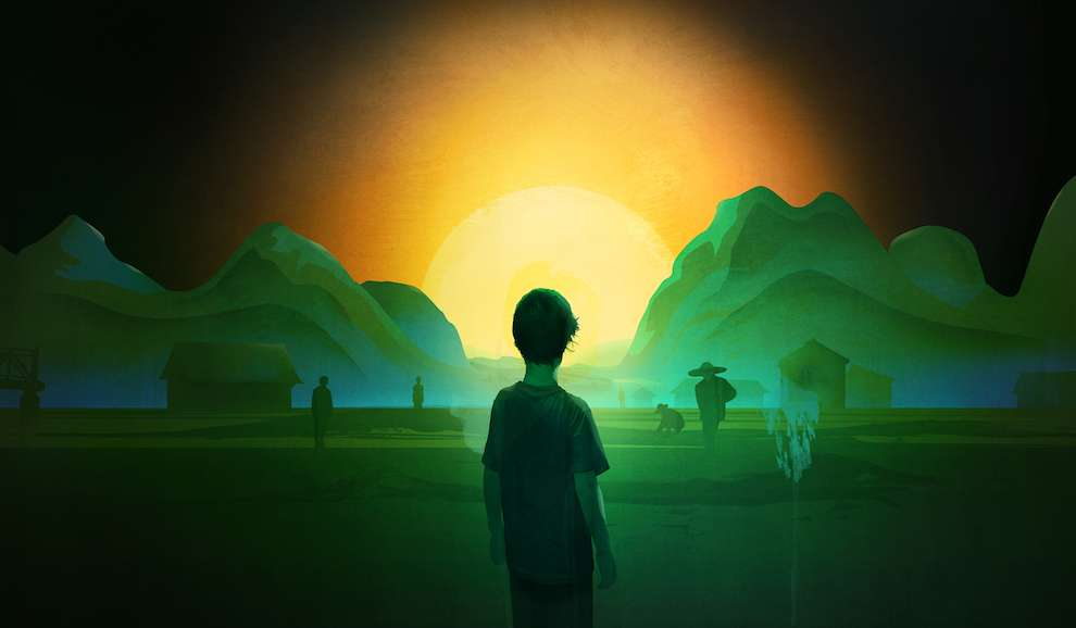 Darren Hopes, Darren Hopes dark surreal collage of a little boy looking at the sunrise through the mountains