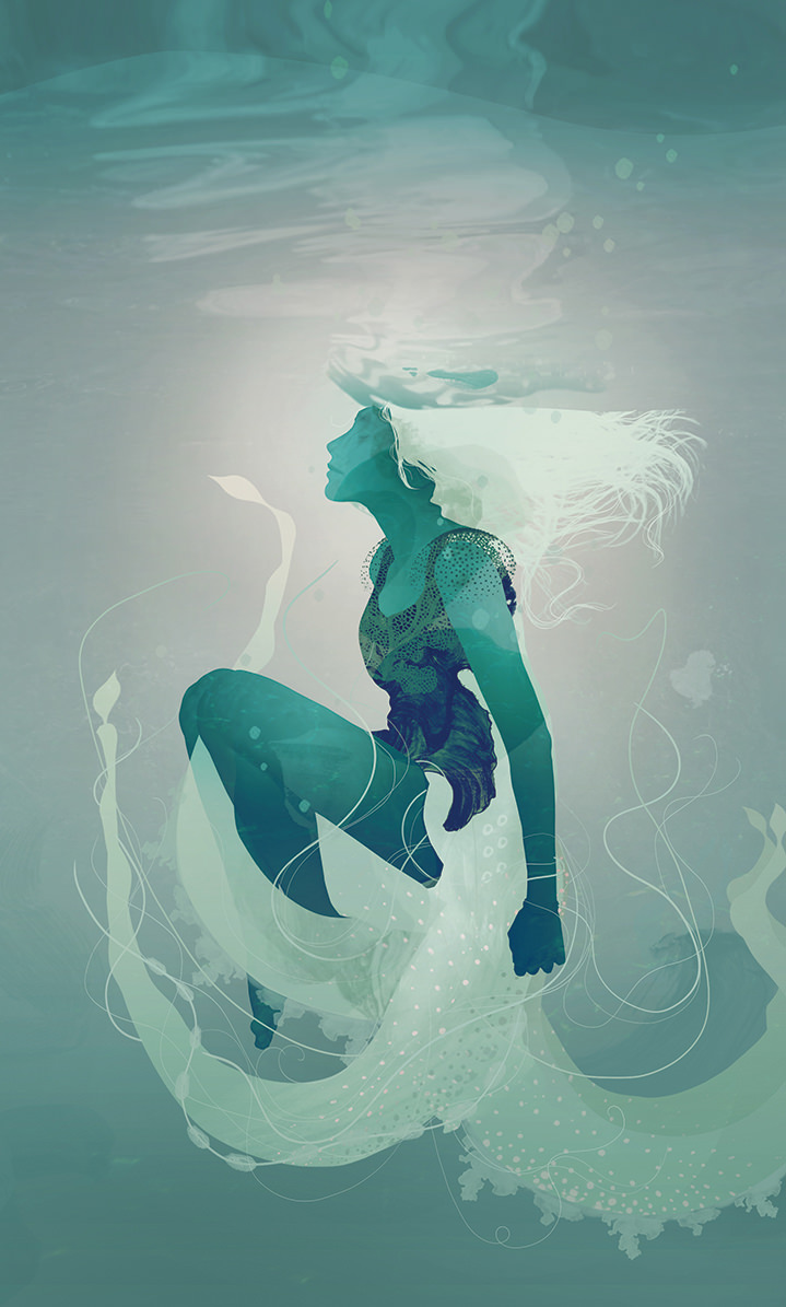Darren Hopes, Darren Hopes underwater woman illustration with ethereal floating elements.