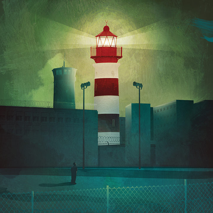 darren hopes, illustration, illustrator, ominous, glow, lurid, graphic, textures, layers, digital, lighthouse, building, architecture, outdoors