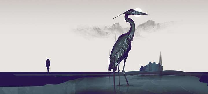 Darren Hopes, Atmospheric and dark painterly illustration of a heron during the full moon.