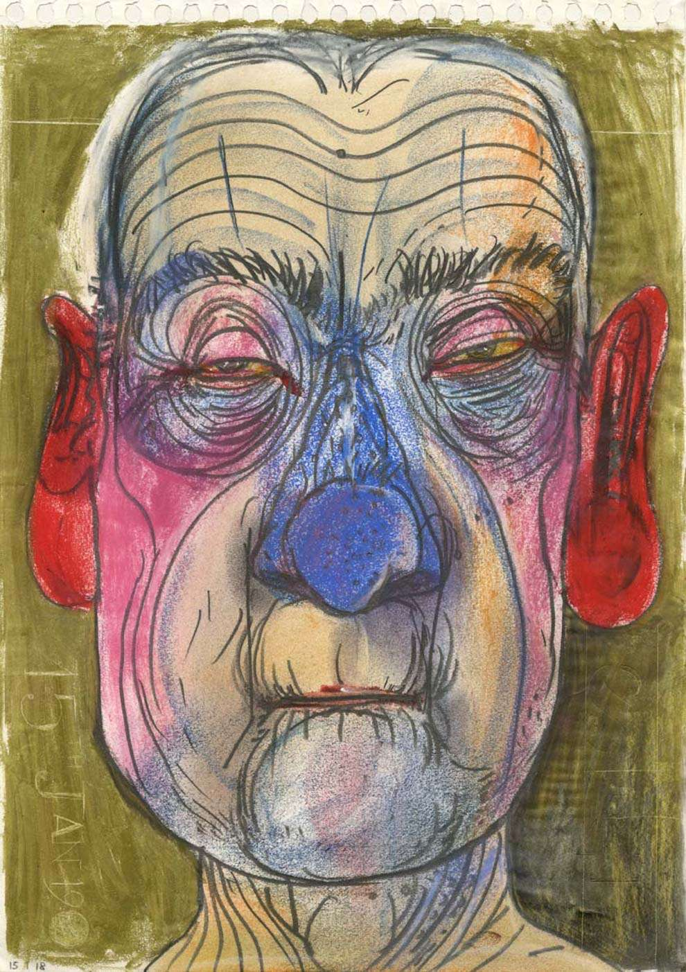 David Hughes, Oil pastel and pen portrait of an old sad man with red ears