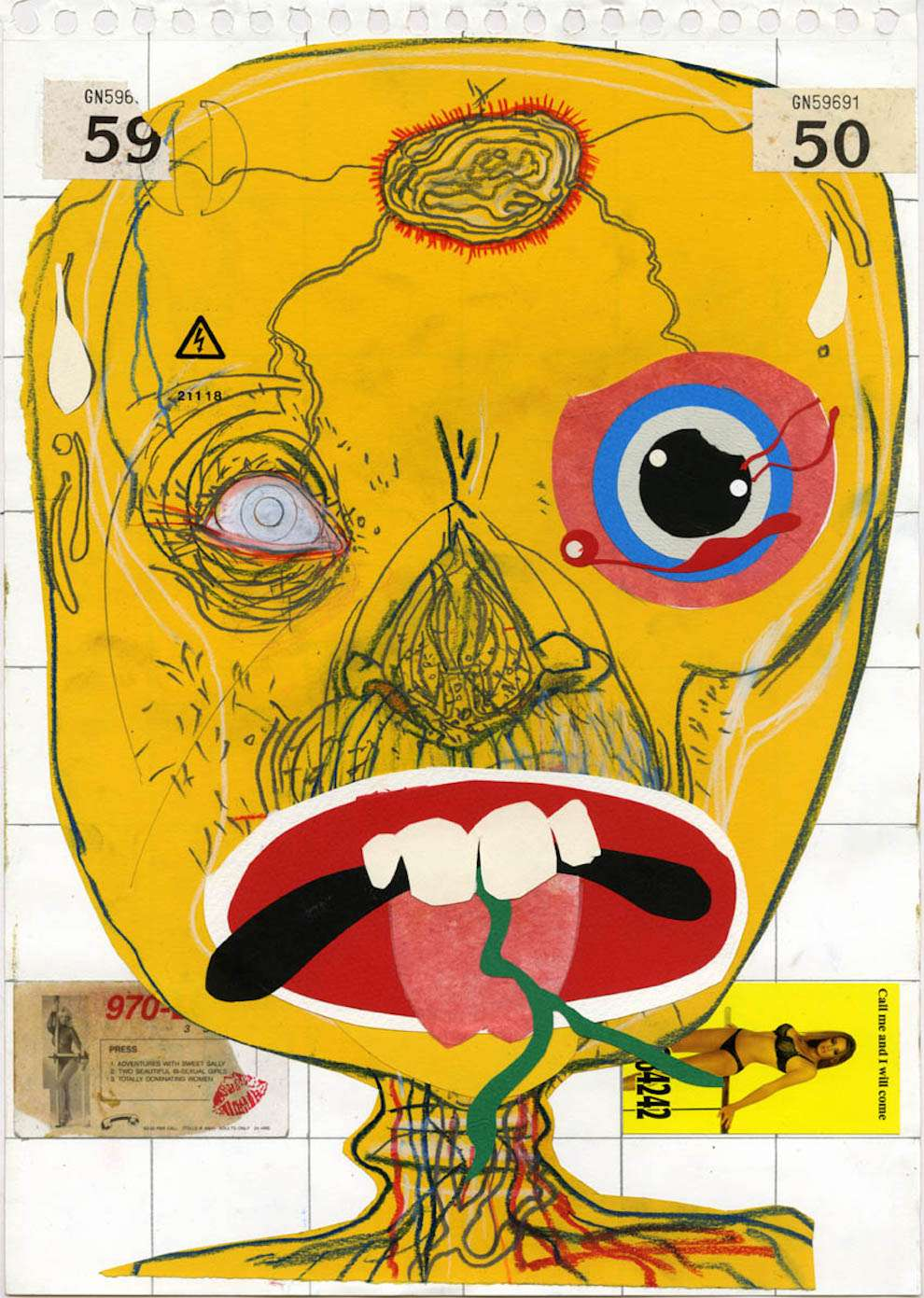 David Hughes, Collage and hand-drawn illustration of a surreal orange face. No, not trump.