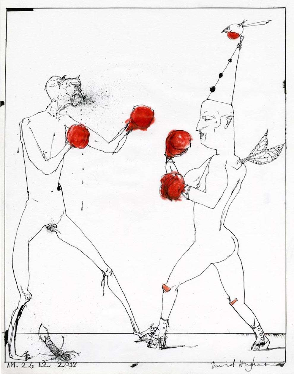 David Hughes, Hand-drawn line illustration of a boxing match between a man with a satan's head and another man with a birthday hat and fairies wings.