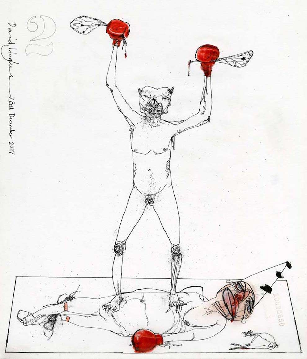 David Hughes, Hand-drawn line illustration of a boxing match between a man with a satan's head putting KO another man with a birthday hat.