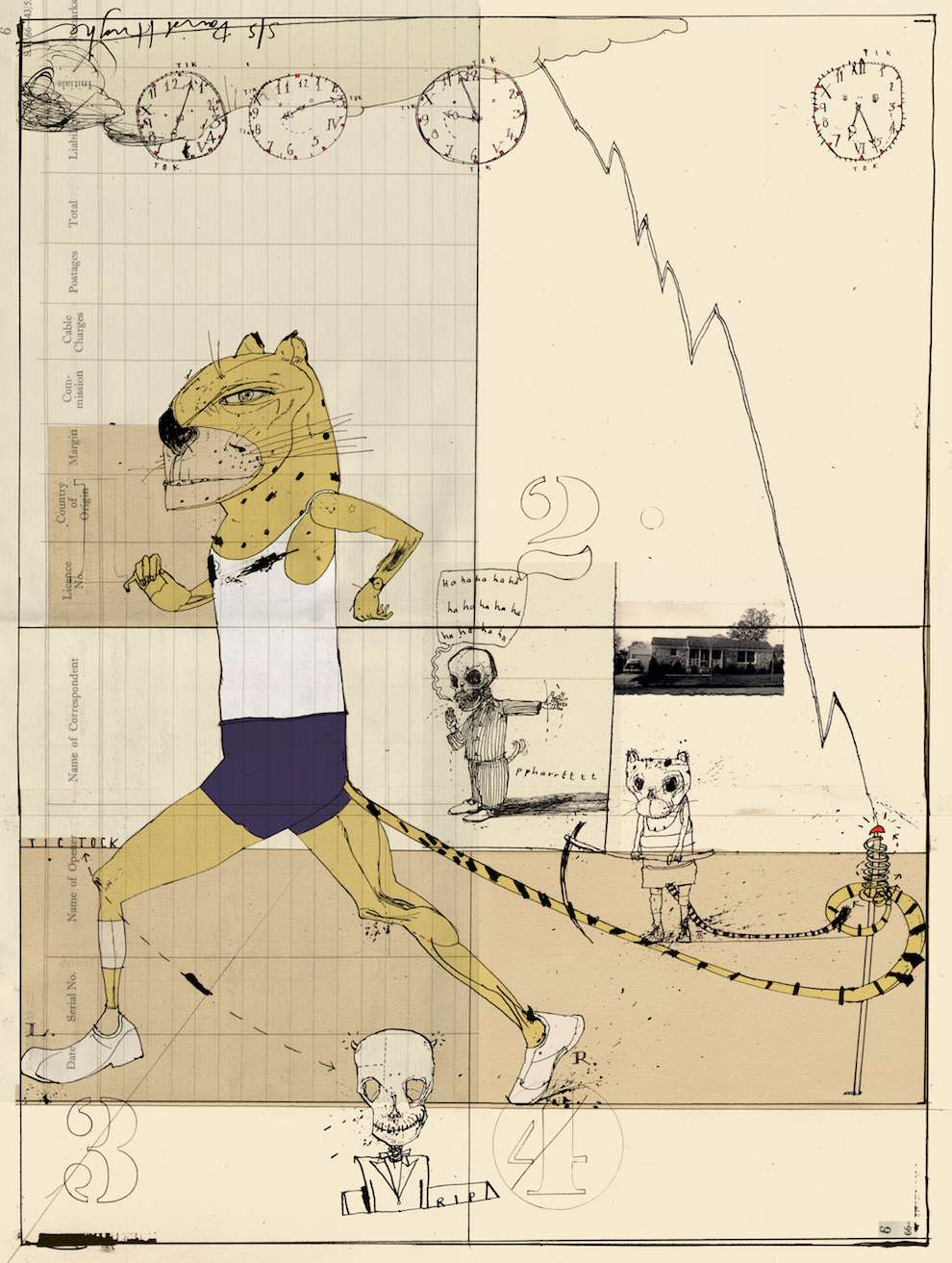 David Hughes, mixed media illustration using pen and collage. Personify leopard running like a human
