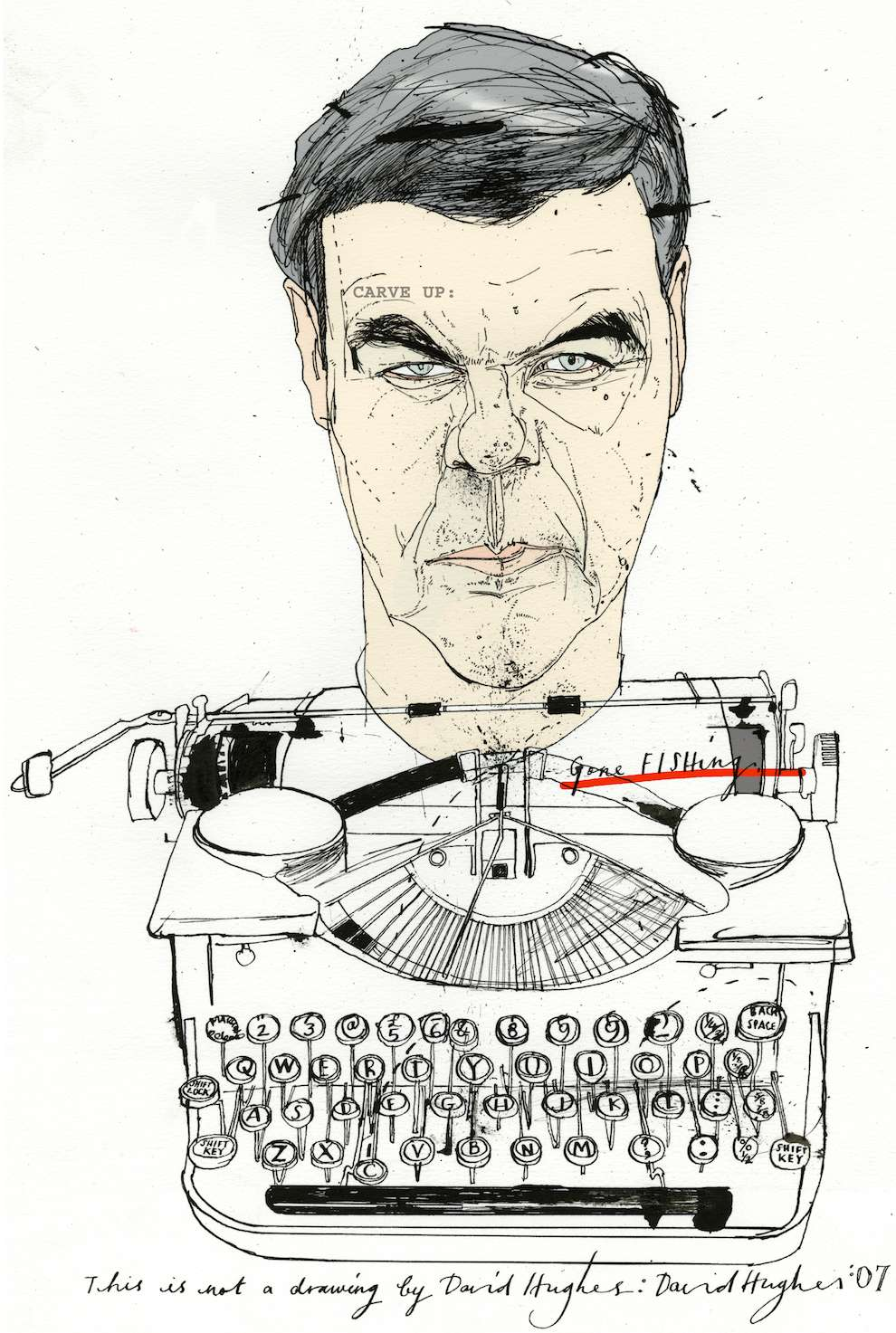 David Hughes, Caricatural portrait of a man's face on a typewriter. Line art sketch illustration
