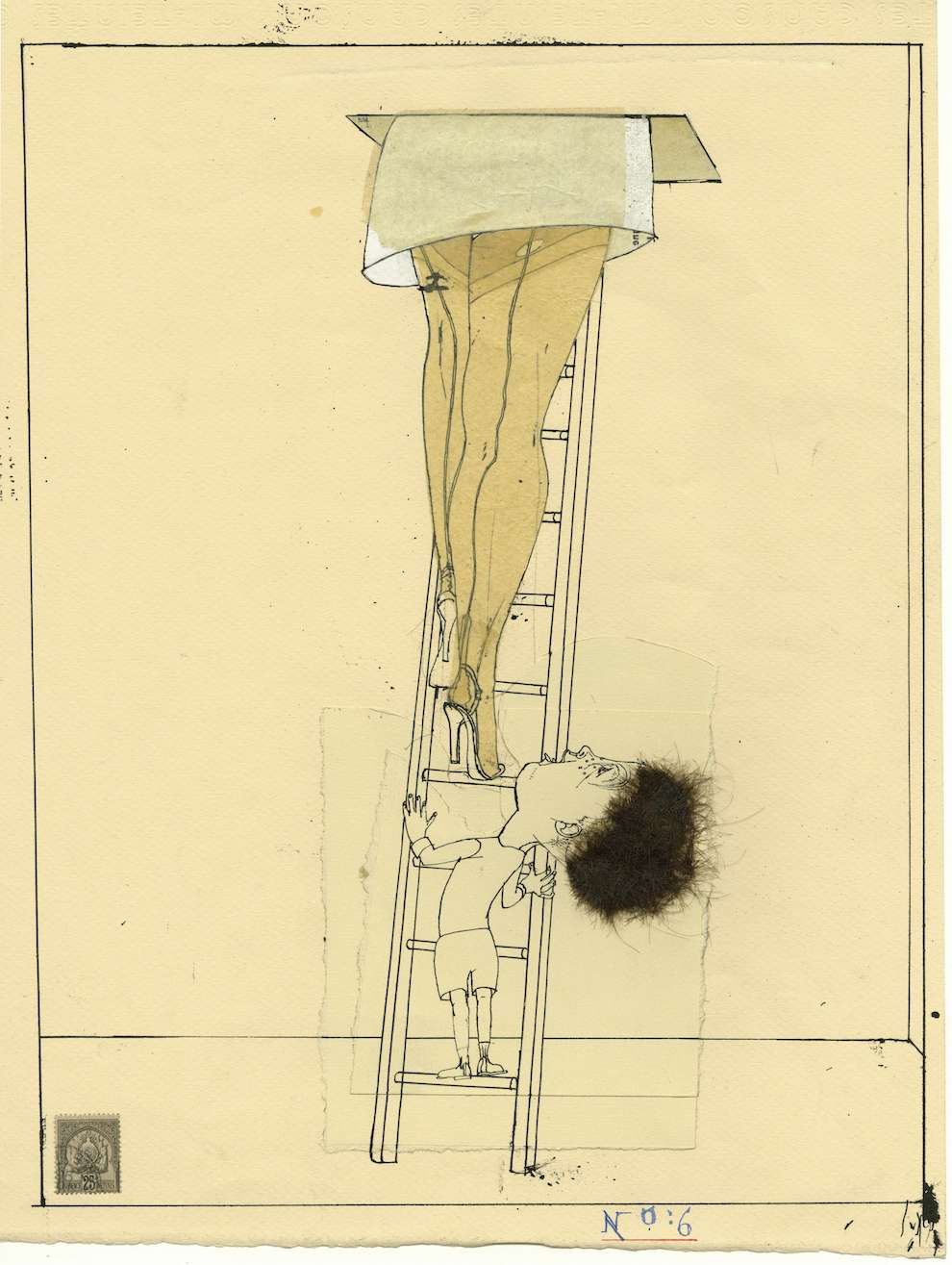 David Hughes, Line art illustration of a little kid looking under a woman's skirt while climbing a lader