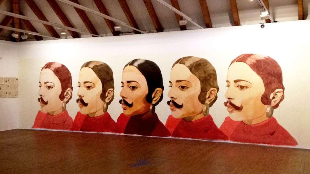 David De Las Heras, Handpainted mural of a woman wearing a mustache