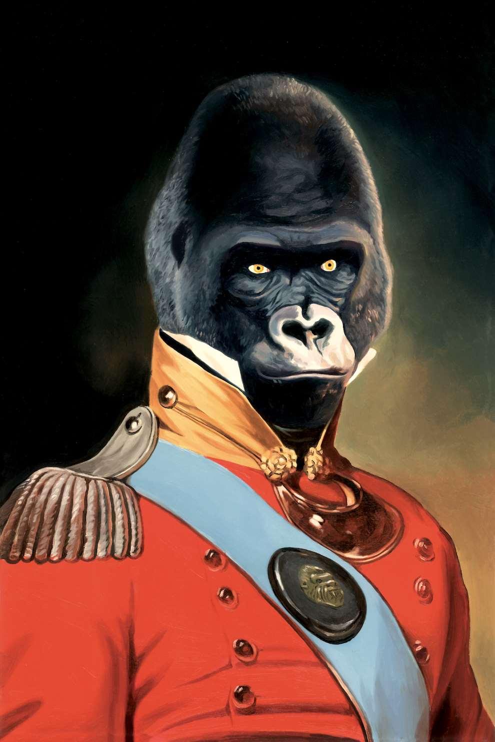David De Las Heras, Realistic painterly portrait of an Ape wearing a solider uniform