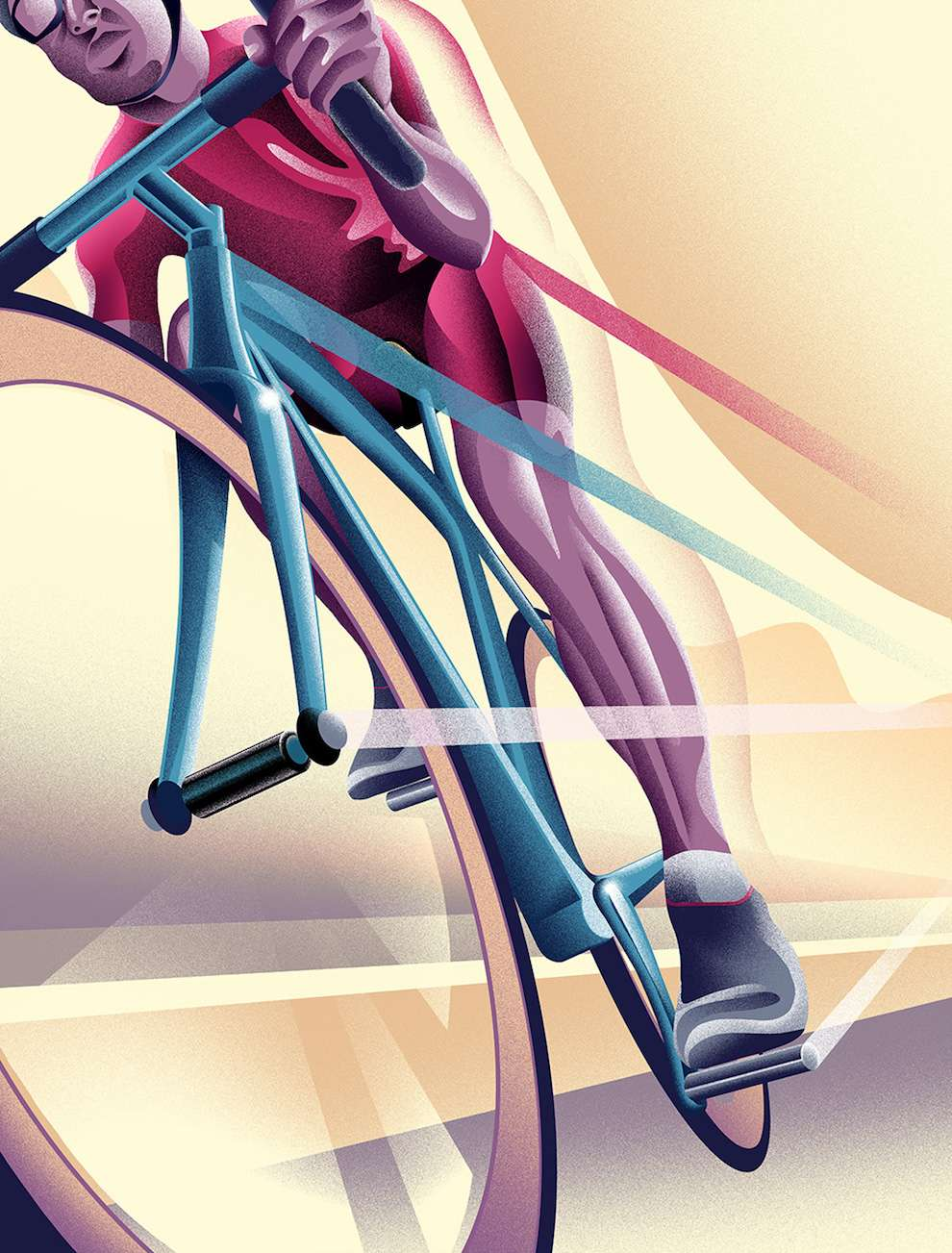 Doaly, Digital textural vintage illustration of a cyclist