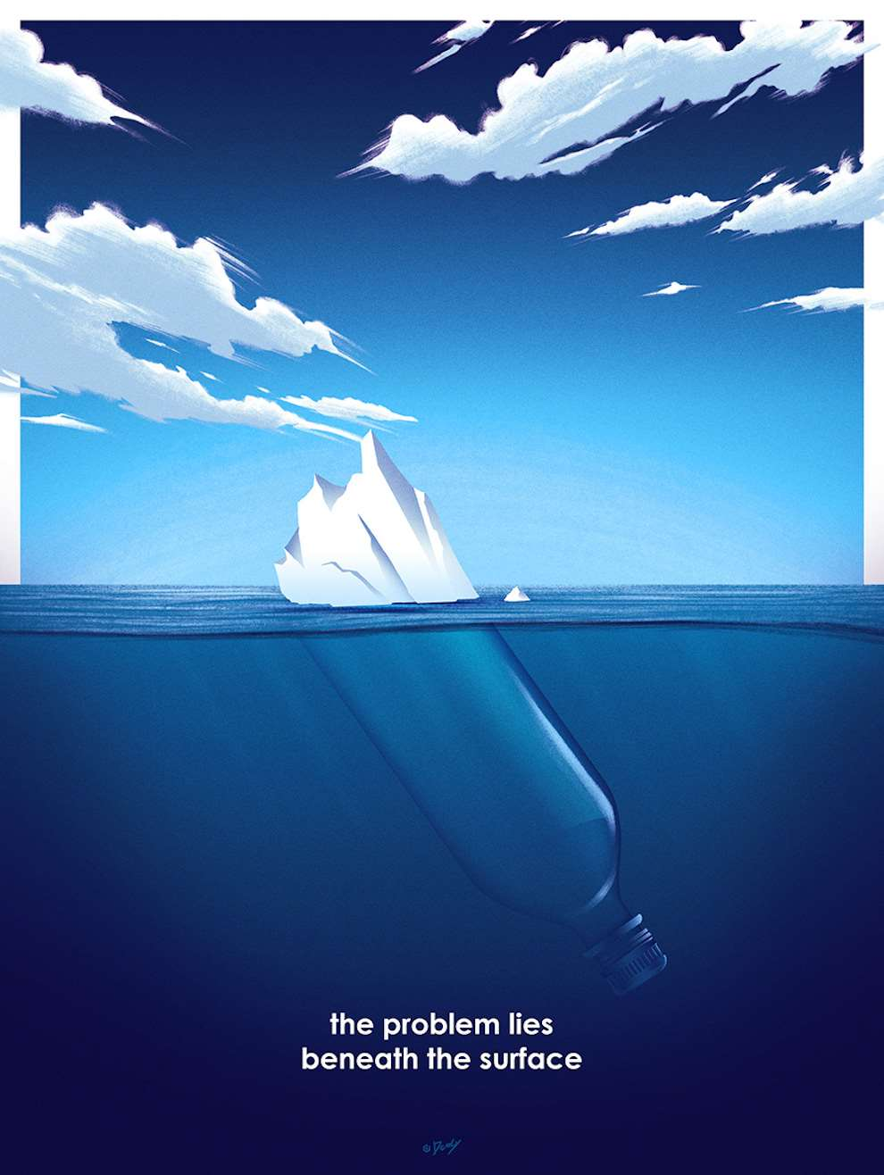Doaly, Graphic and bold digital poster of a plastic bottle in the sea hiding as an iceberg
