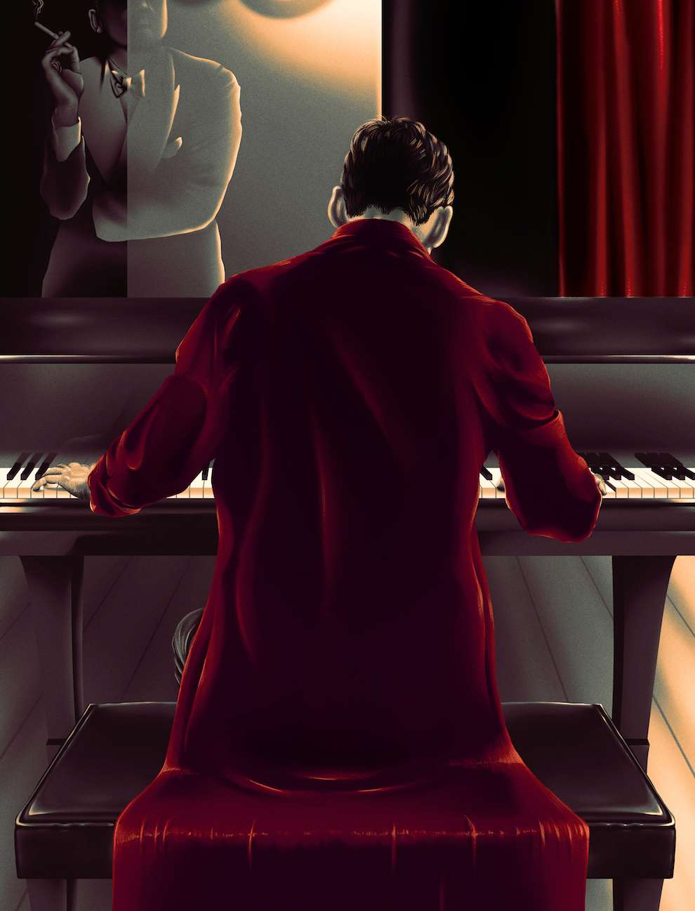Doaly, Digital painterly illustration of a man playing piano