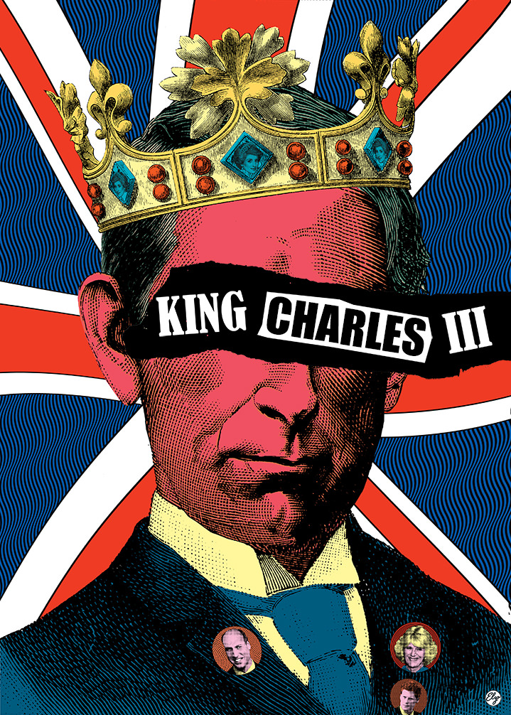 Elzo Durt, Elzo Durt Psychedelic and Bright portrait illustration of King Charles wearing a crown with a union jack background.