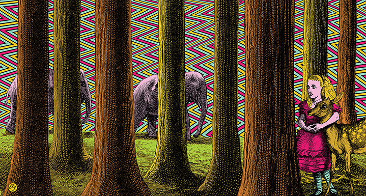 Elzo Durt, Elzo Durt Psychedelic Illustration of a girl in the forest with a deer, with elephants behind the trees on a geometric patterned background.
