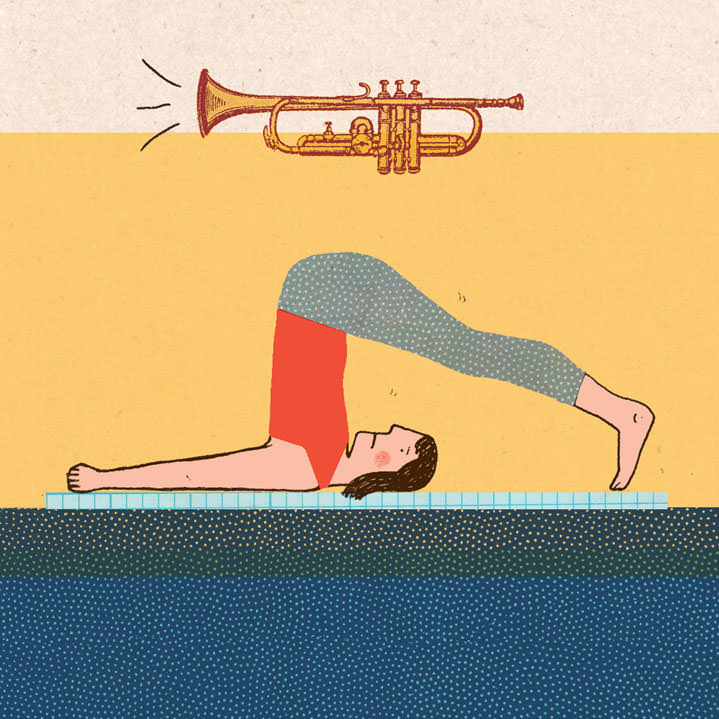 Harriet Russell, hand drawn and playful illustration of a woman doing yoga with a humorous undertone of a trumpet noise floating over her