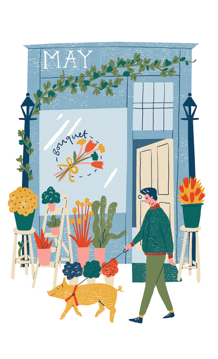 Harriet Seed, an illustrated scene of a flower shop front and a man walking a pig. Naive style drawing of a street.