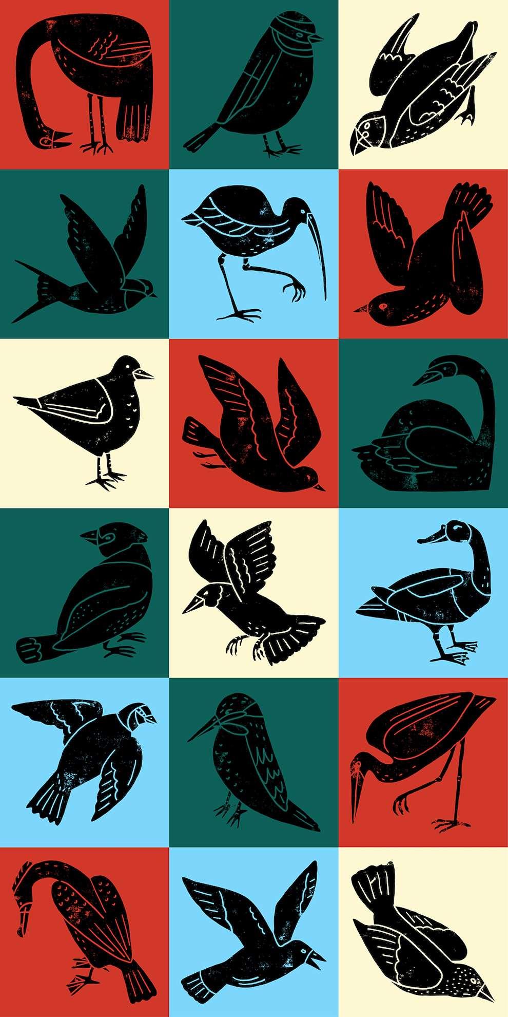 Harriet Seed, Decorative stencilled illustration of birds, wildlife.