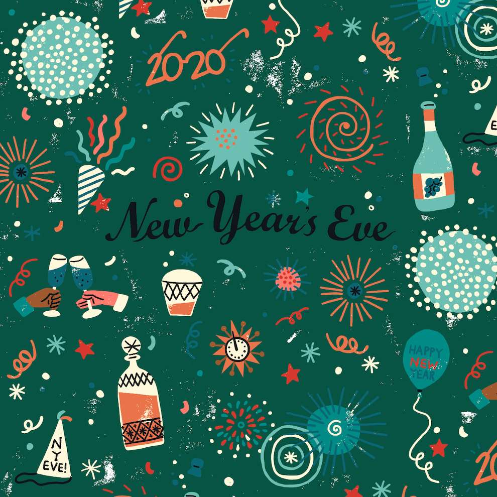 Harriet Seed, Decorative New Years Eve pattern illustration for the Radio Times.