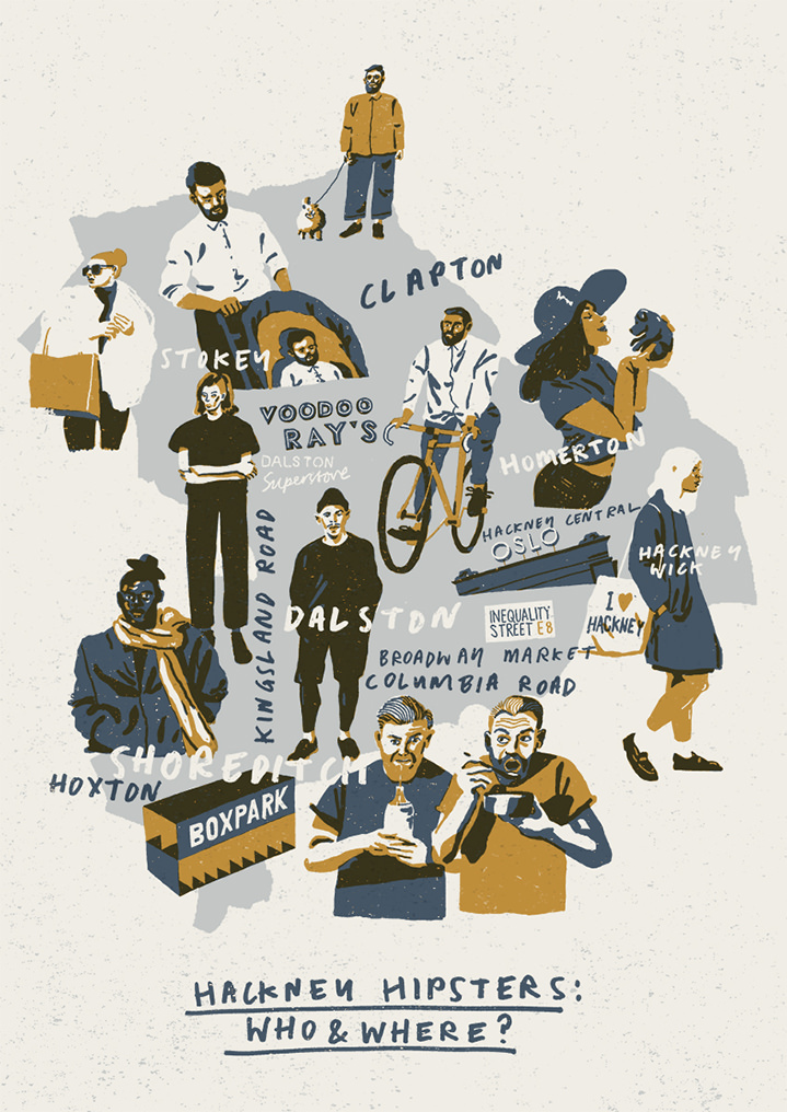 harry tennant, screen print, digital, layers, graphic, people, street, scenery, city, bold, playful, characters, spam, food, photoshop, heritage, traditionla, hand drawn, hipsters, shoreditch, map