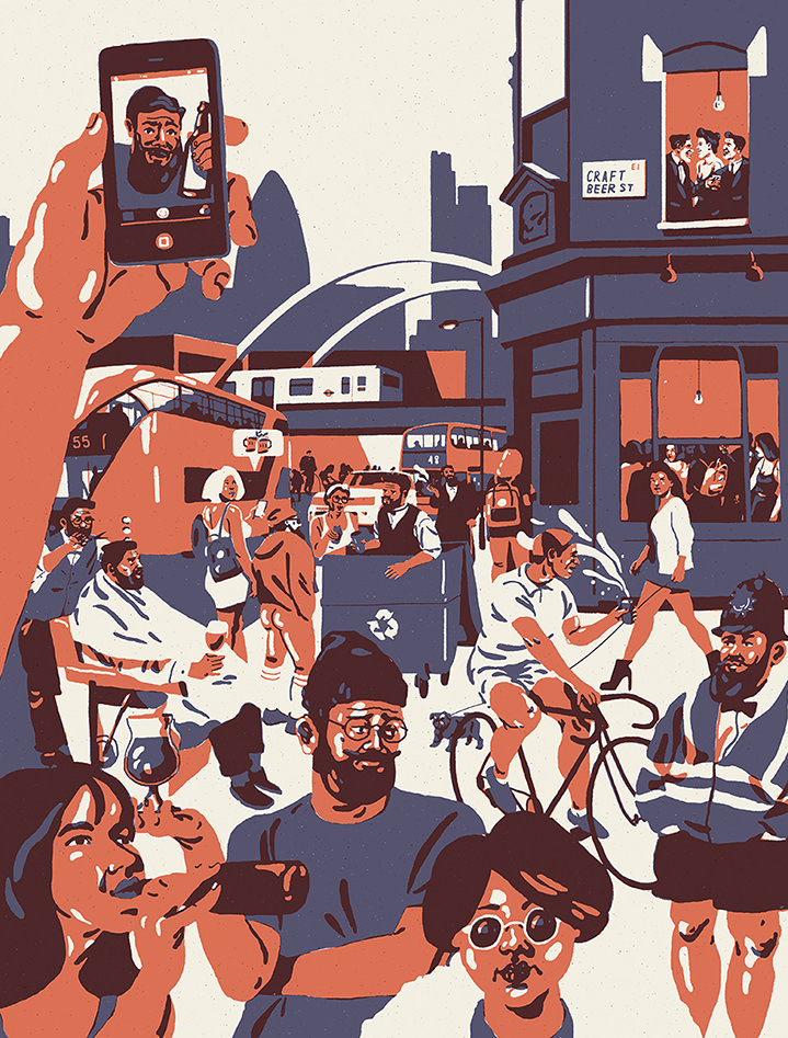 Harry Tennant, Silkscreen style illustration of a crowd of hipster people in Shoreditch with a bus and London skyline. Minimal colour palette and characters