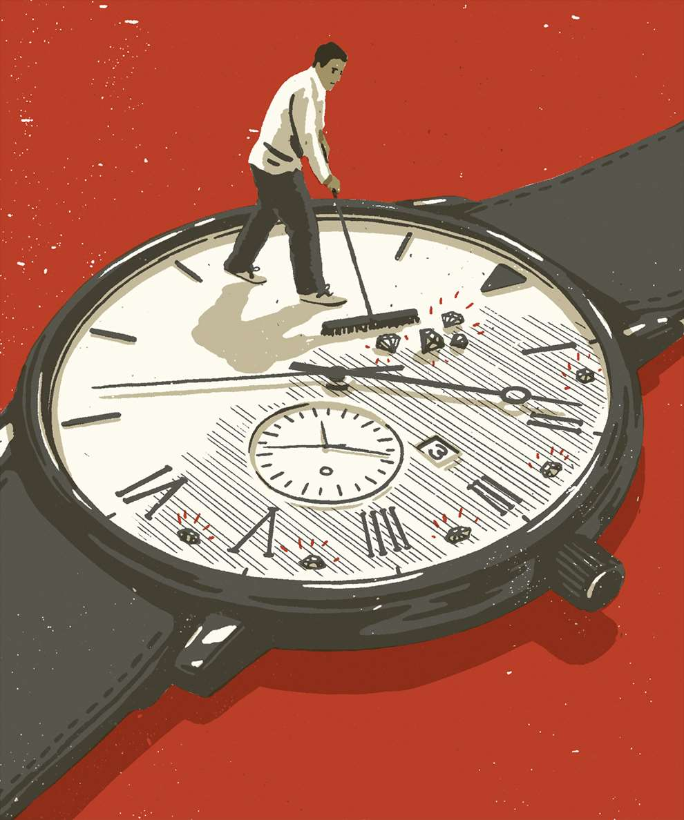 Harry Tennant, Conceptual editorial illustration of a hand and man swiping diamonds of a watch. Retro screenprint style.