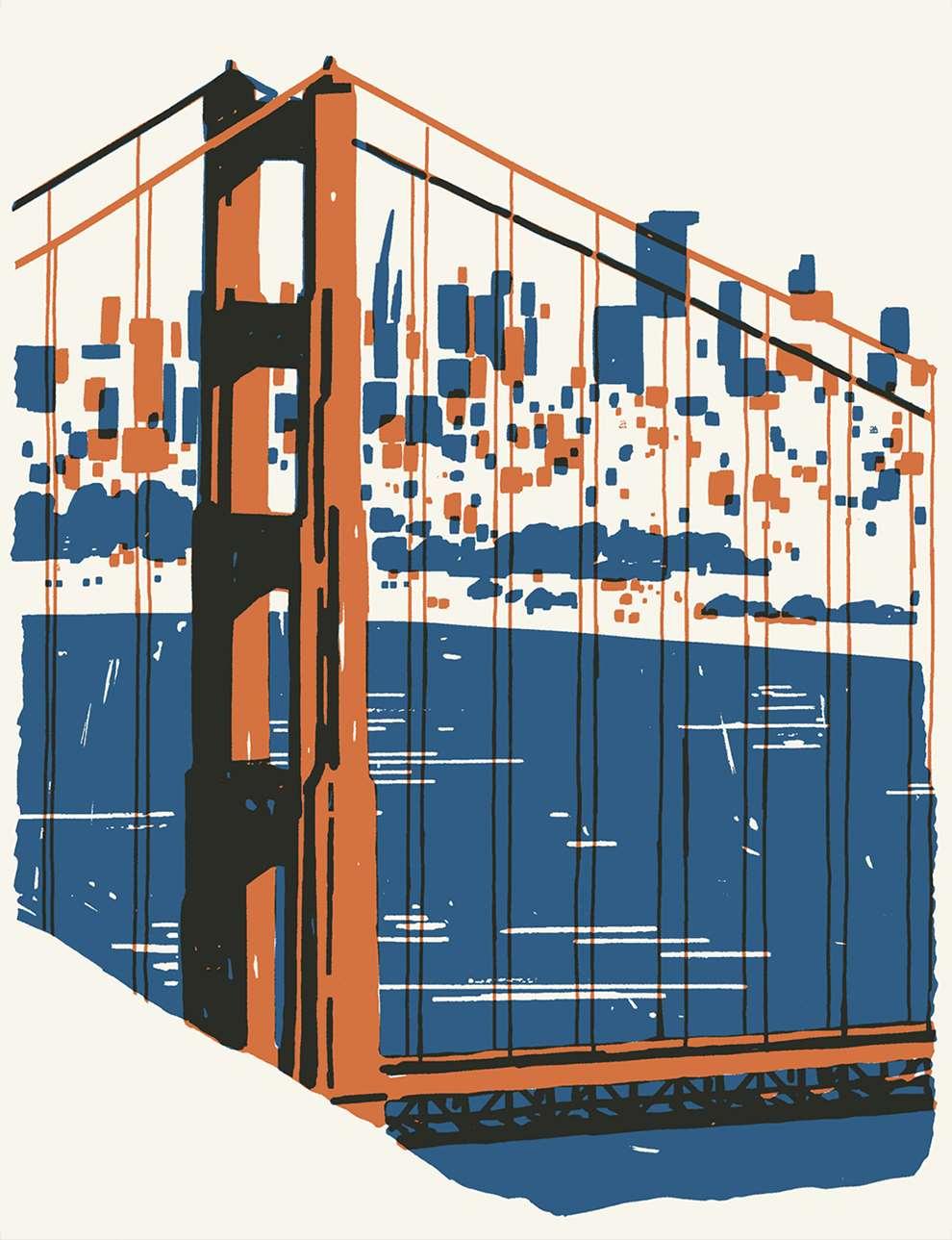 Harry Tennant, Digital illustration of Golden Gate Bridge, textural style.