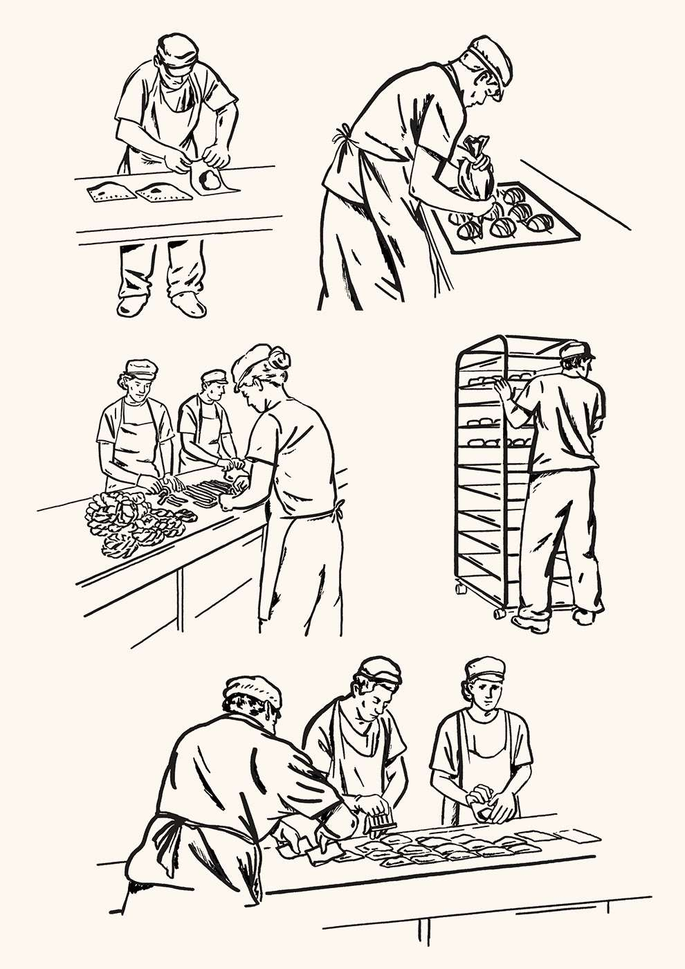 Harry Tennant, Line illustration of bakery process
