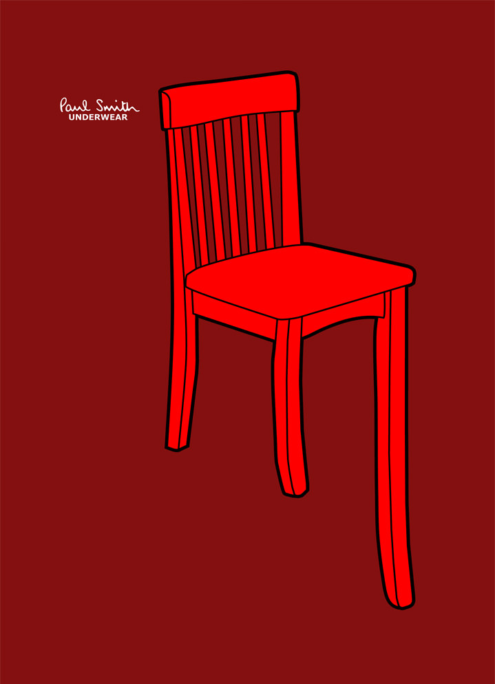 Ian Bilbey, bold and graphic illustration of a red chair in red background for Paul Smith