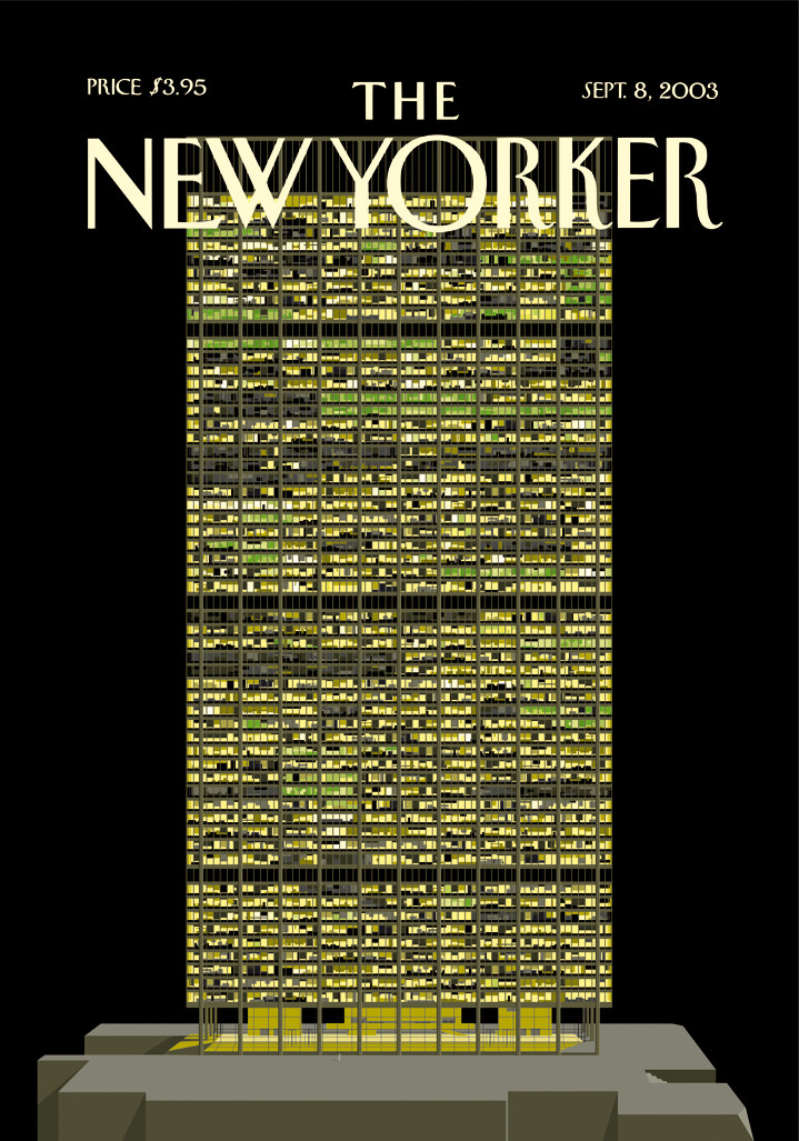 Ian Bilbey, Graphic design magazine cover for the new yorker of a building in a black background