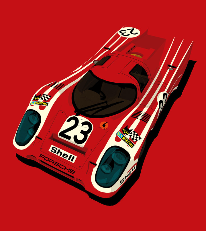 Ian Bilbey, Graphic and bold illustration of a red racing car on a red background