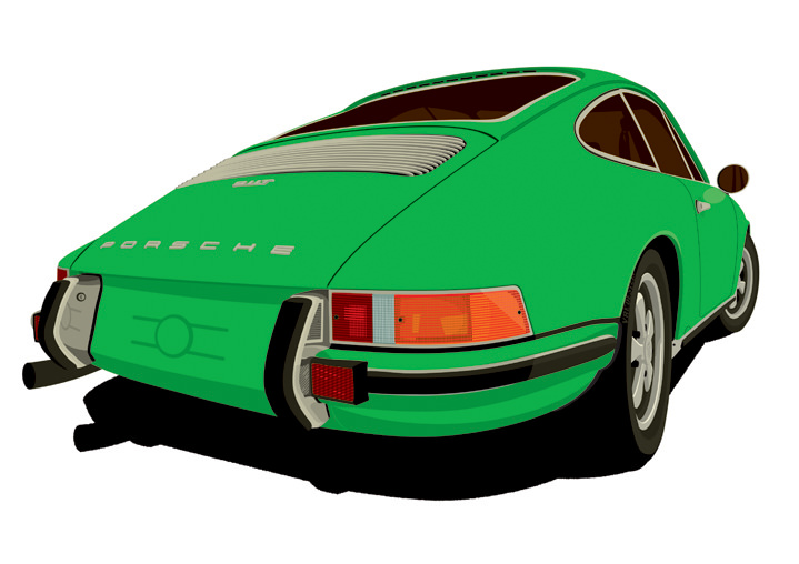Ian Bilbey, bold digital illustration of the back of a green porsche