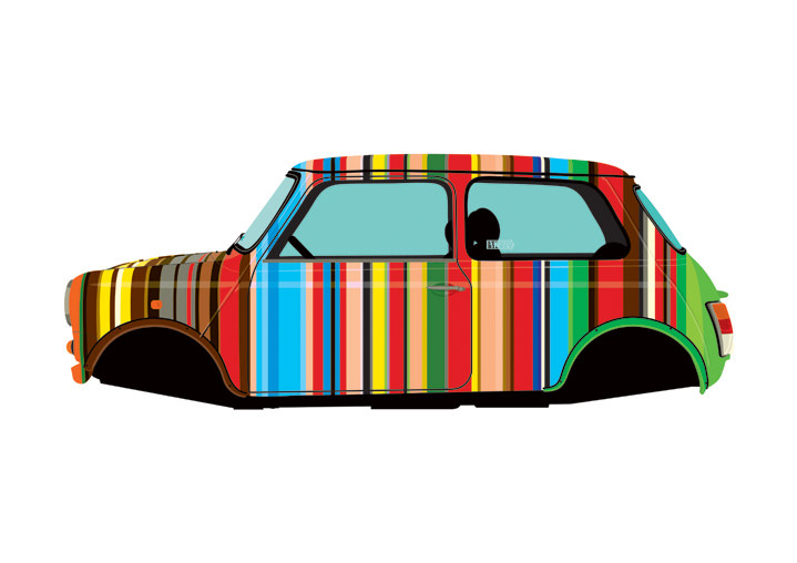 Ian Bilbey, bold digital illustration of a car