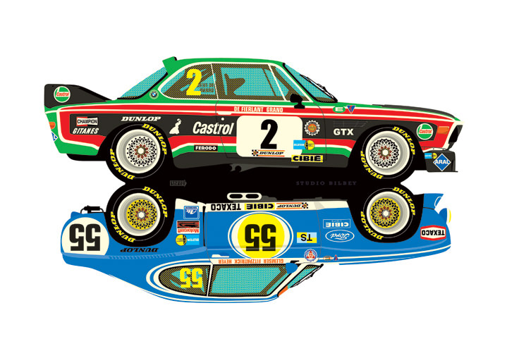 Ian Bilbey, Detailed digital illustration of racing cars